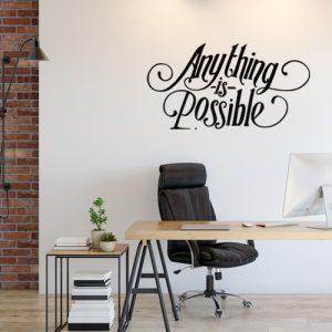מדבקת קיר משפט מוטיבציה על קיר משרד
