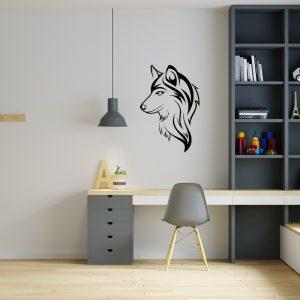 מדבקת קיר בעלי חיים ראש זאב על קיר משרד