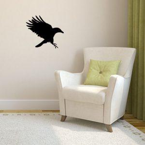 מדבקת קיר עורב שחור נוחת
