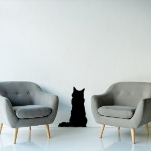 מדבקת קיר לסלון חתול שחור בין 2 כורסאות