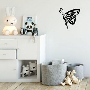 מדבקת קיר בעיצוב אישי פרפר שחור מתעופף בפרופיל על קיר ילדים