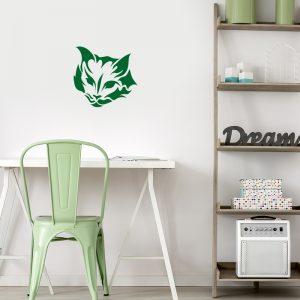 מדבקת קיר לבני נוער ראש חתול ירוק