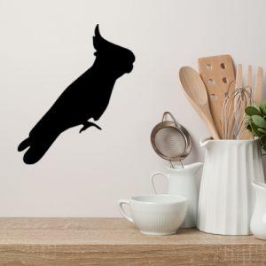 מדבקת קיר בעלי חיים למטבח תוכי שחור בפרופיל