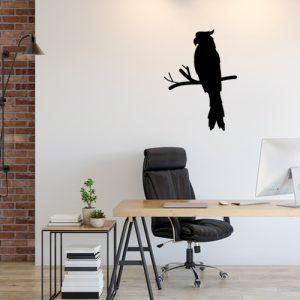 מדבקת קיר למשרד- תוכי על ענף בצבע שחור