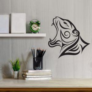 מדבקת קיר אומנותית של בעלי חיים ראש נמר שואג