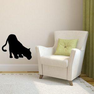 """מדבקת קיר שחורה אומנותית נמר מרחרח דגם """"Max"""""""