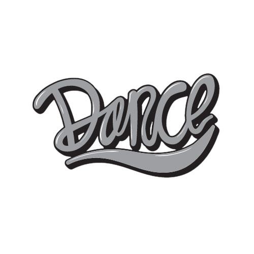 מדבקת קיר צורנית של המילה Dance