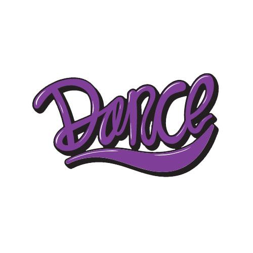 מדבקת קיר המילה Dance בעיצוב אישי