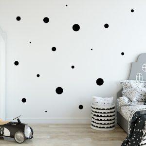 מדבקת קיר עיגולים שחורים בגדלים שונים
