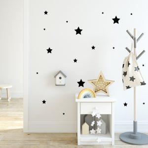 מדבקת קיר כוכבים שחורים בגדלים שונים