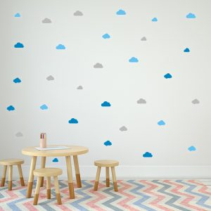 מדבקת קיר עננים בצבע תכלת, כחול ואפור