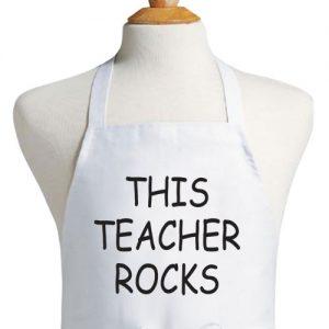 סינר לבן בהתאמה אישית מתנה למורה