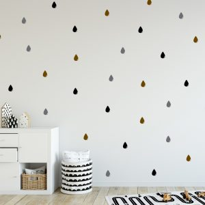 מדבקת קיר בעיצוב אישי טיפות גשם כהות