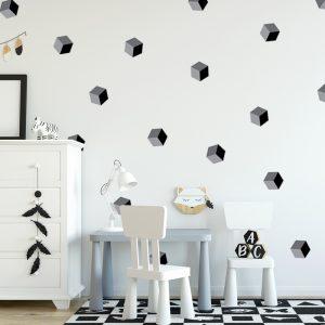 מדבקת קיר קוביות אפורות