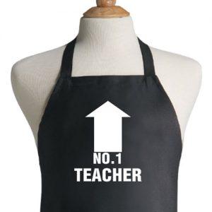 סינר שחור מתנה למורה no-1-teacher