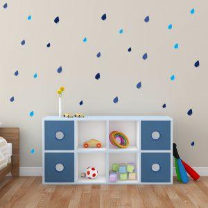 מדבקת קיר גשם על קיר חדר ילדים