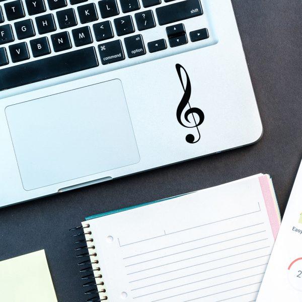 מדבקה על מחשב נייד תו נגינה בעיצוב אישי