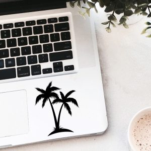 מדבקה למחשב נייד עץ דקל בעיצוב אישי