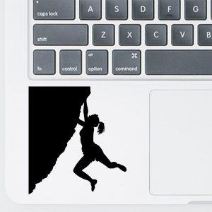 מדבקה מעוצבת למחשב נייד - אישה מטפסת ללא חבלים