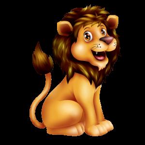 מדבקת קיר בעלי חיים- ציור צבעוני של אריה צעיר מחייך.