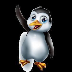 מדבקת קיר צבעונית פינגווין מנופף בידו לשלום.