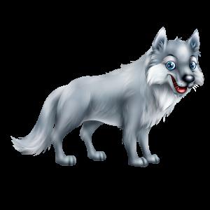מדבקת קיר צבעונית של זאב חייכן בעל עיניים כחולות.
