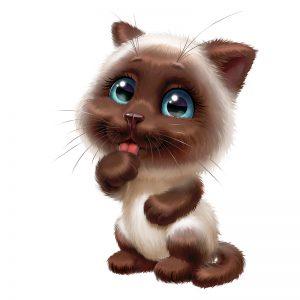 מדבקת קיר גור חתולים עם לשון בחוץ