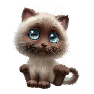 ציור של גור חתולים תכול עיניים עם מבט תמים