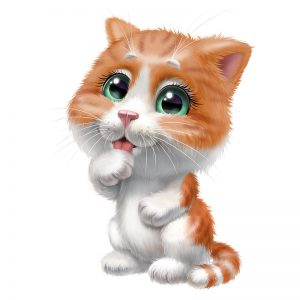 ציור של חתלתול ג'ינג'י שמלקק את ידו הימנית.