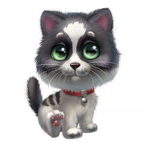 מדבקת קיר ציור של גור חתולים עם קולר אדום.