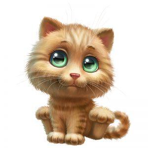 מדבקת קיר גור חתולים ג'ינג'י