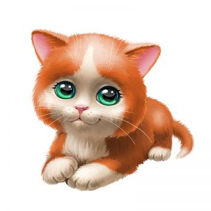 מדבקת קיר ציור של גור חתולים ג'ינג'י עם עיניים ירוקות