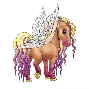 מדבקת קיר לילדים - סוסה עם כנפיים