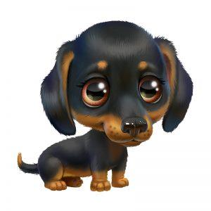 מדבקת קיר גור כלבים עם פרווה שחורה וחומה.