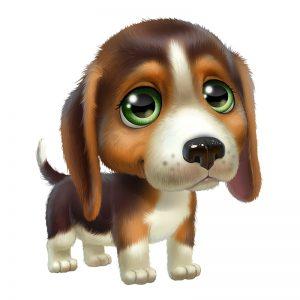 ציור של גור כלבים עם עיניים ירוקות ופרווה חומה ולבנה.