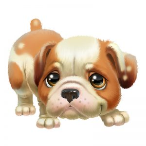 מדבקת קיר ציור של גור כלבים המביע רגש