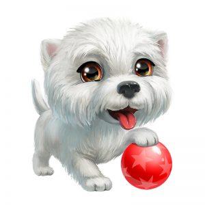 מדבקת קיר גור כלבים לבן עם כדור אדום