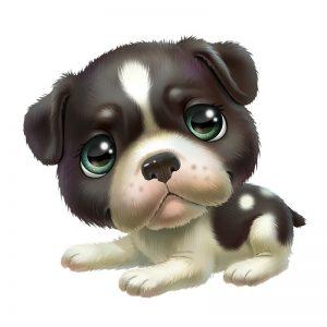 מדבקה של כלבלב עם עיניים ירוקות ופרווה שחורה ולבנה