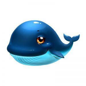 מדבקת קיר צבעונית עולם המים - ציור של גור לוייתן מתוק
