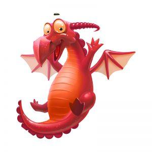דינוזאור אדום שמחייך ומרים את ידיו