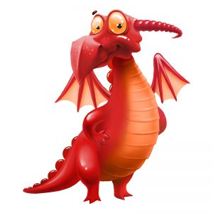 מדבקת קיר דינוזאור בגוונים אדומים וכתומים.