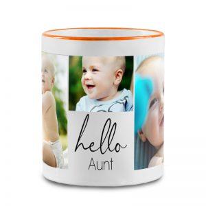 """מתנה לדודה טרייה- ספל מעוצב עם תמונות של האחיין/ית וכיתוב """"שלום דודה"""""""