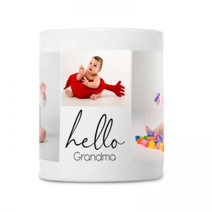 """מתנה מקורית לסבתא טרייה - ספל עם תמונות של הנכד/ה וכיתוב """"שלום סבתא"""""""