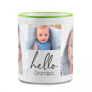 """מתנה לסבא טרי - ספל מעוצב עם תמונות של הנכד/ה וכיתוב """"שלום סבא"""""""