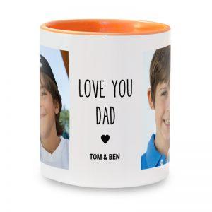 """מתנה מרגשת לאבא - הדפסת כיתוב """"אוהבים אותך אבא"""" + תמונות על ספל קפה"""