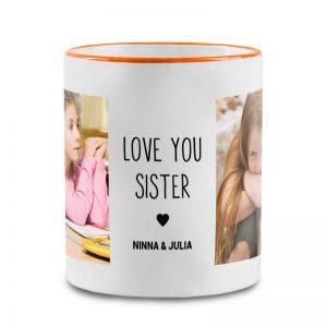 """מתנה מרגשת לאחות גדולה - הדפסת כיתוב """"אוהבים אותך אחות"""" + תמונות על ספל קפה"""