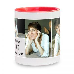 מתנה ליום ההולדת של הדודה - ספל קפה עם תמונות והקדשה אישית